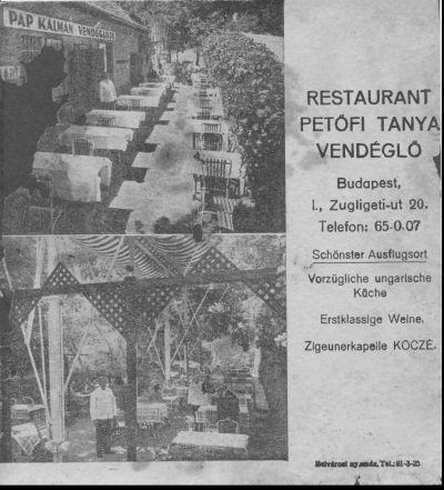 Petőfi Tanya Vendéglő -újsághirdetés, Budapest, 1910-es évek