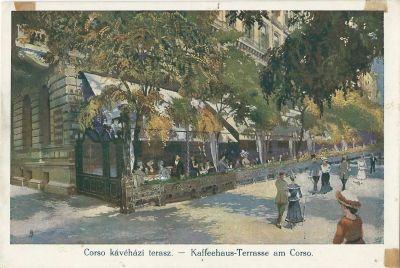 Corso kávéházi terasz - képeslap, Budapest, 1900-as évek
