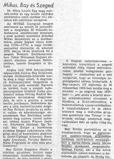 Mikus, Bay és Szeged - újságcikk 1987.
