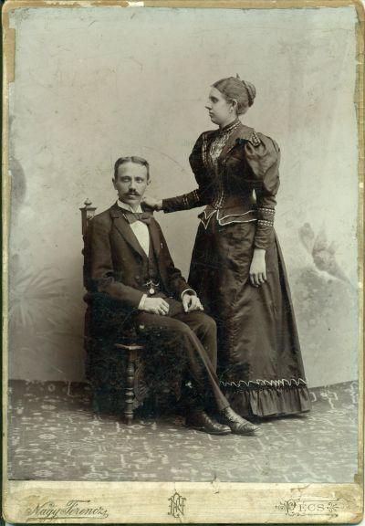 Oroszy Sándor cukrászmester és felesége Árvay Mária, Pécs, 1890-es évek