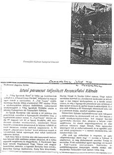Isteni parancsot teljesített Ferenczfalvi Kálmán - újságcikk