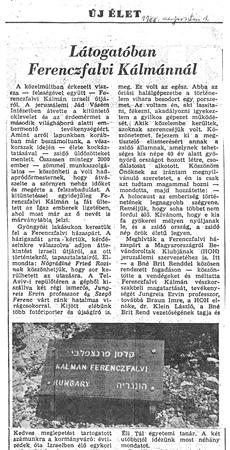 Látogatóban Ferenczfalvi Kálmánnál - újságcikk