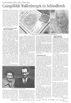 Csángóföldi Wallenbergek és Schindlerek - újságcikk