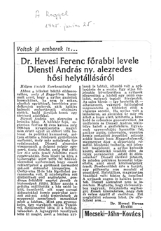 Dr. Hevesi Ferenc főrabbi levele Dienstl András ny. alezredes hősi helytállásáról - újságcikk
