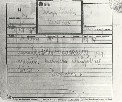 Az 1939-es kiállításról tudósító távirat