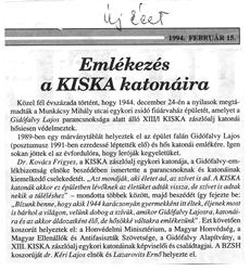 Emlékezés a KISKA katonáira - újságcikk
