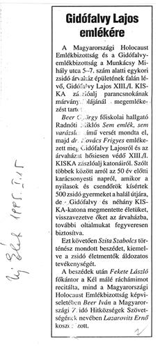 Gidófalvy Lajos emlékére - újságcikk