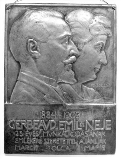 Gerbeaud Emil és neje 25 éves munkálkodásának emlékére - emlékplakett, Budapest, 1909
