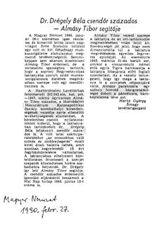 Dr. Drégely Béla csendőr százados - Almásy Tibor segítője - újságcikk