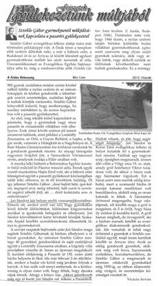 Sztehlo Gábor gyermekmentő működésének kapcsolata a pasaréti gyülekezettel - újságcikk