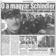 Ő a magyar Schindler - újságcikk