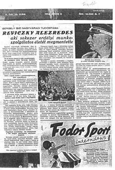 Reviczky alezredes - újságcikk 1946.