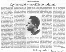 Egy keresztény szociális forradalmár - újságcikk
