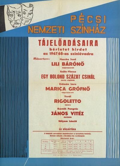Bérlet hirdetés a Pécsi Nemzeti Színház 1967/68-as évadának tájelőadásaira plakát