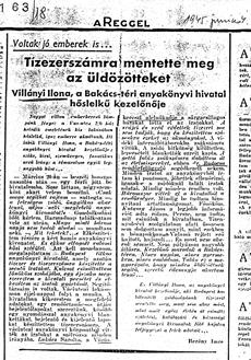 Tízezerszámra mentette meg az üldözötteket - újságcikk 1945