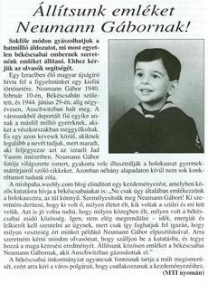 Állítsunk emléket Neumann Gábornak! - újságcikk