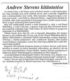 Andrew Stevens kitüntetése - újságcikk