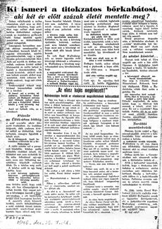 Ki ismeri a titokzatos bőrkabátost? - újságcikk 1946.12.29.