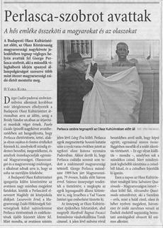 Perlasca-szobrot avattak - újságcikk