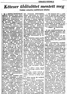 Kétezer üldözöttet mentett meg - újságcikk