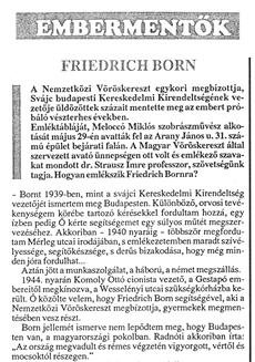 Friedrich Born - újságcikk