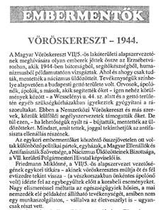 Vöröskereszt - 1944. - újságcikk