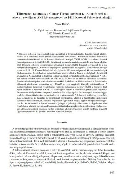 Tájtörténeti kutatások a Gömör-Tornai-karszton I. - A történelmi táj rekonstrukciója az ANP környezetében az I-III. Katonai Felmérések alapján