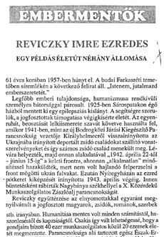 Reviczky Imre ezredes - újságcikk