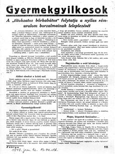 Gyermekgyilkosok - újságcikk 1947.01.12.