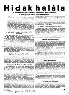 Hidak halála - újságcikk 1947.01.26.