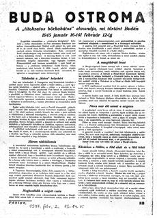 Buda ostroma - újságcikk 1947.02.02.