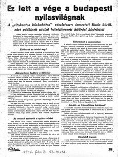 Ez lett a vége a budapesti nyilasvilágnak - újságcikk 1947.02.09.