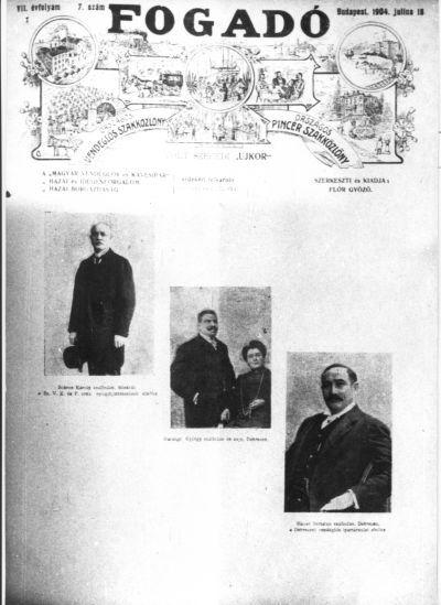Szállodások a Fogadó című lap borítóján, Budapest, 1904