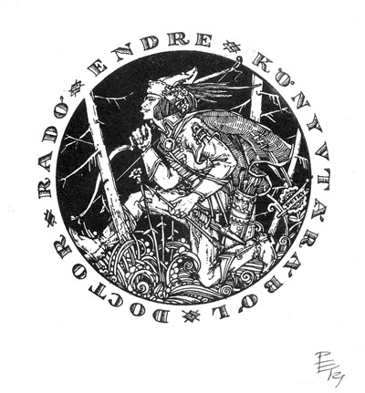 Ősmagyar vitéz grafika - Ex libris dr. Rado Endre