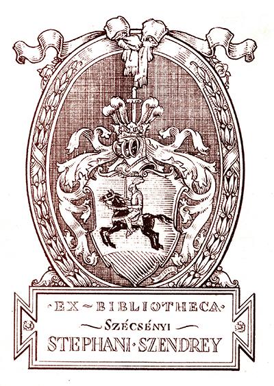 Ex libris Szécsényi Stephani Szendrey