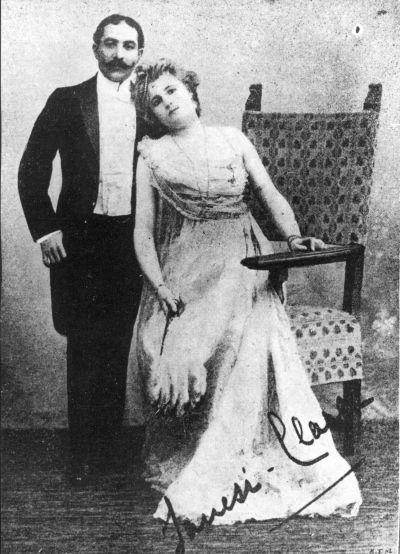 Rigó Jancsi (1858-1927) cigányprímás és felesége, Clara Ward-Chimay fényképe, 1896