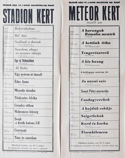 A Stadion kert és Meteor kert előadásai