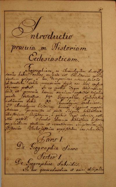 Introductio praeuia in Historiam Ecclesiasticam