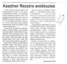 Kasztner Rezsőre emlékeztek - újságcikk