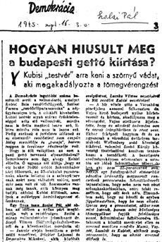Hogyan hiúsult meg a budapesti gettó kiírtása - újságcikk 1945.