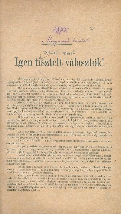 Választási nyomtatványok az 1870/1890-es évekből