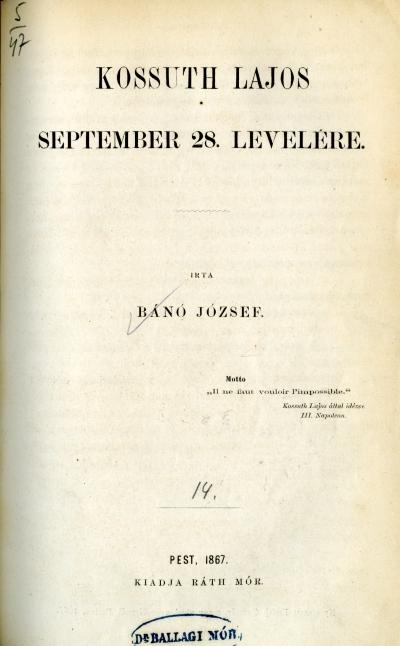 Kossuth Lajos september 28. levelére