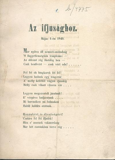 Az ifjusághoz május 1-én 1849.
