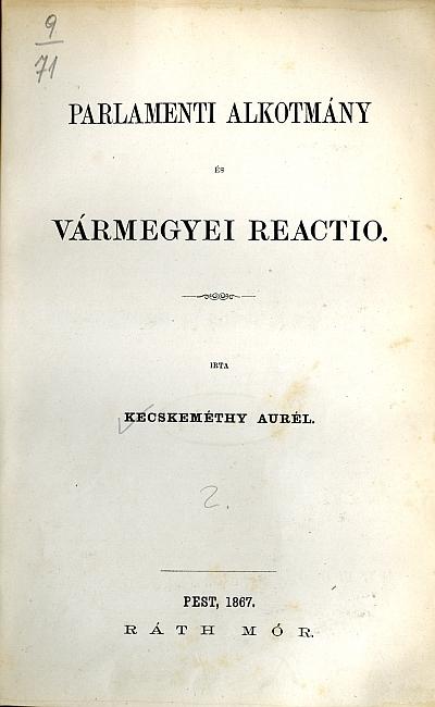 Parlamenti alkotmány és vármegyei reactio