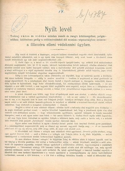 Nyilt levél Tokaj város és vidéke ... közönségéhez ... a filloxéra elleni védekezési ügyben