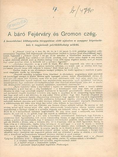 A báró Fejérváry és Gromon czég