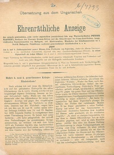 Ehrenrächtliche Anzeige ... gegen Géza Frhr. v. Fejérváry ...