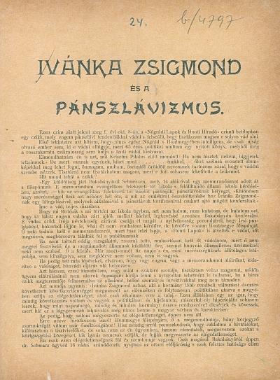 Ivánka Zsigmond és a pánszlávizmus