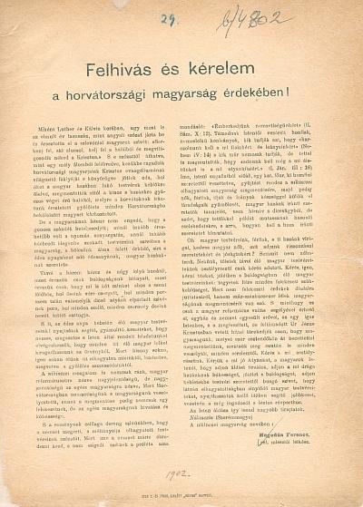 Felhivás és kérelem a horvátországi magyarság érdekében