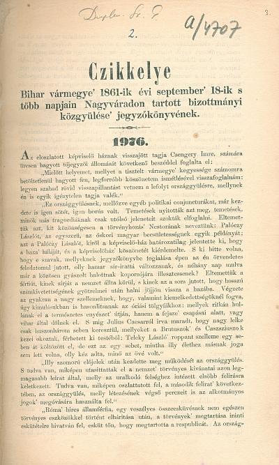 Czikkelye Bihar vármegye' 1861-ik évi september' 18-ik s több napján Nagyváradon tartott bizottmányi közgyölése' jegyzőkönyvének